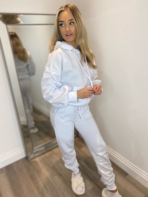 RUCHED HOODED TRACKSUIT - WHITE