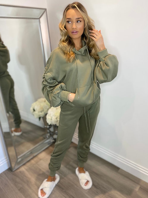 RUCHED HOODED TRACKSUIT -KHAKI