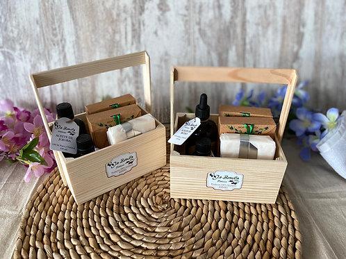 Cesta regalo jabón artesanal y aceites