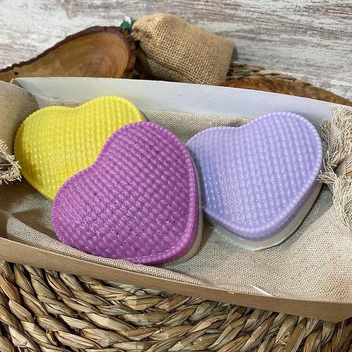 Jabón de glicerina Corazón grande tejido