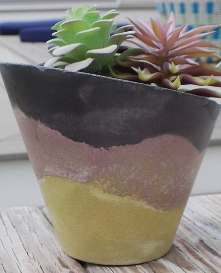"""""""Softly Slanted""""-1 piece: Large planter/candleholder"""