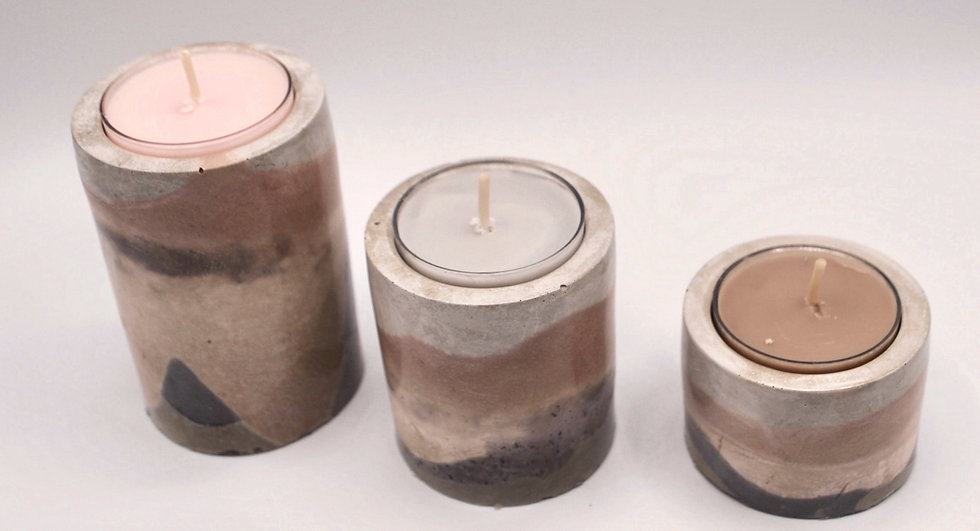 """""""Swirly & Fluid""""- 3 pieces plus candles: candleholders"""
