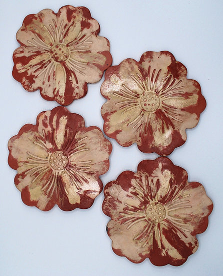 """""""Brick red blooming concrete""""- 4 pieces: coasters"""