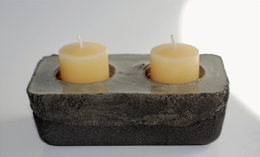 """Two Hole Dark Side""- 1 piece: Planter/ votive candleholder"