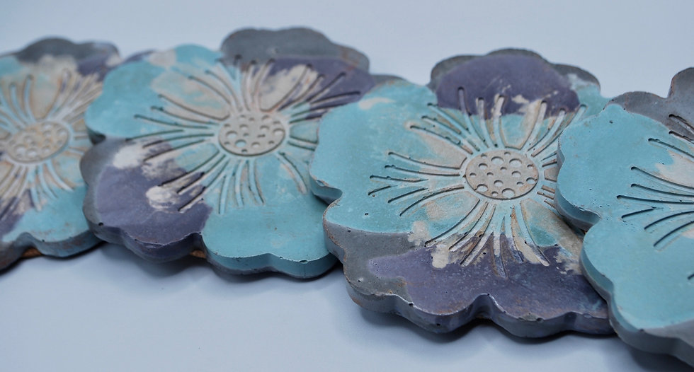 """""""Flowered up"""": coasters: 4 pieces"""