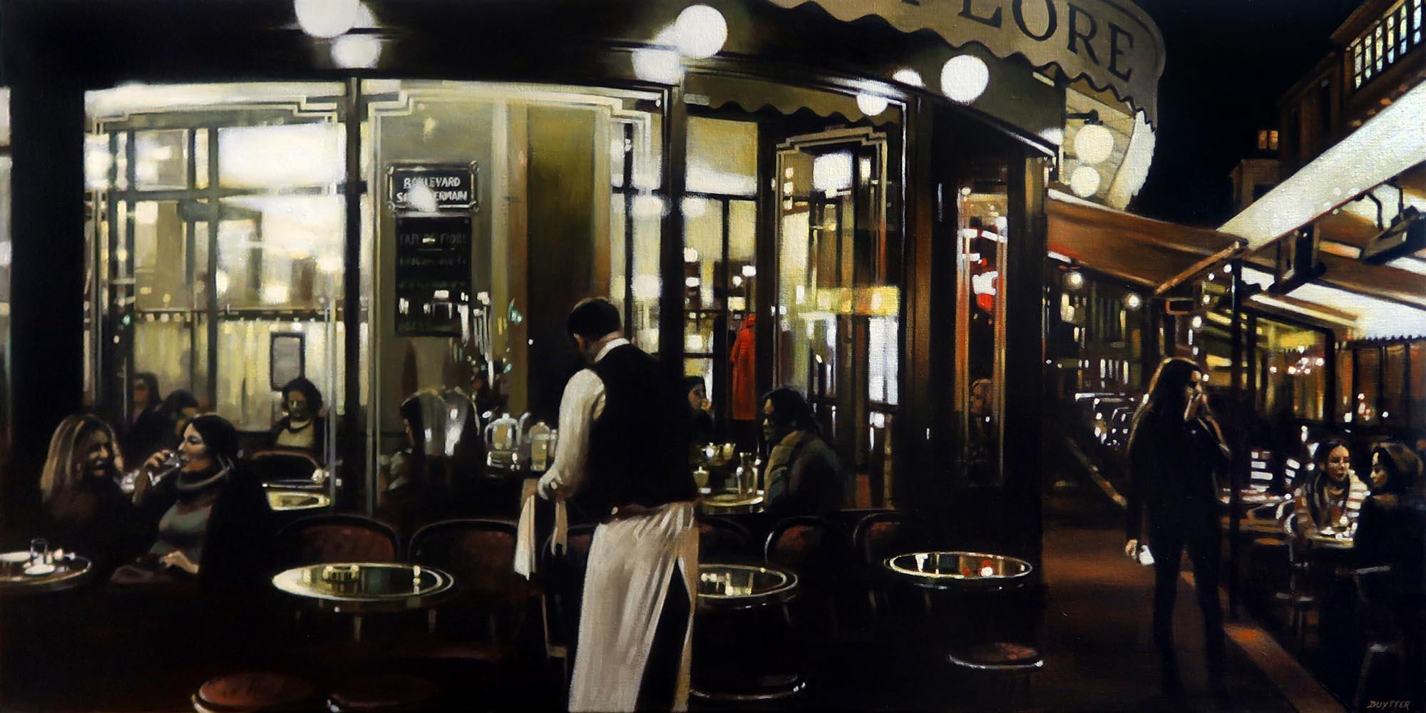 Terrasse Café de Flore, acrylique sur to