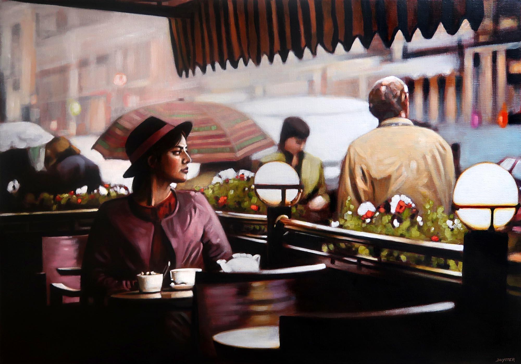 Un café en terrasse, Acrylique sur toile