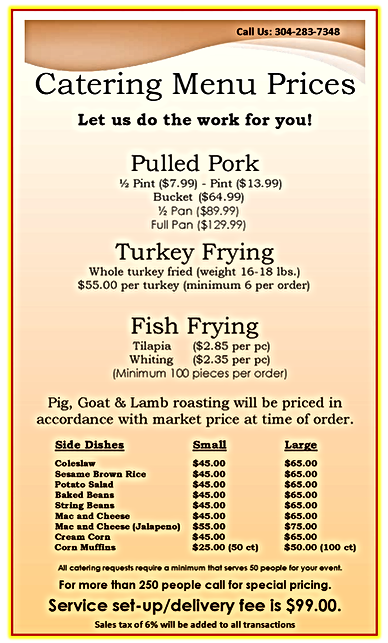 catering menu papas chicken and ribs pag