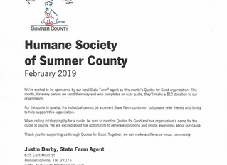 February Sponsorship - Get a Quote to Benefit the Sumner County Humane Society
