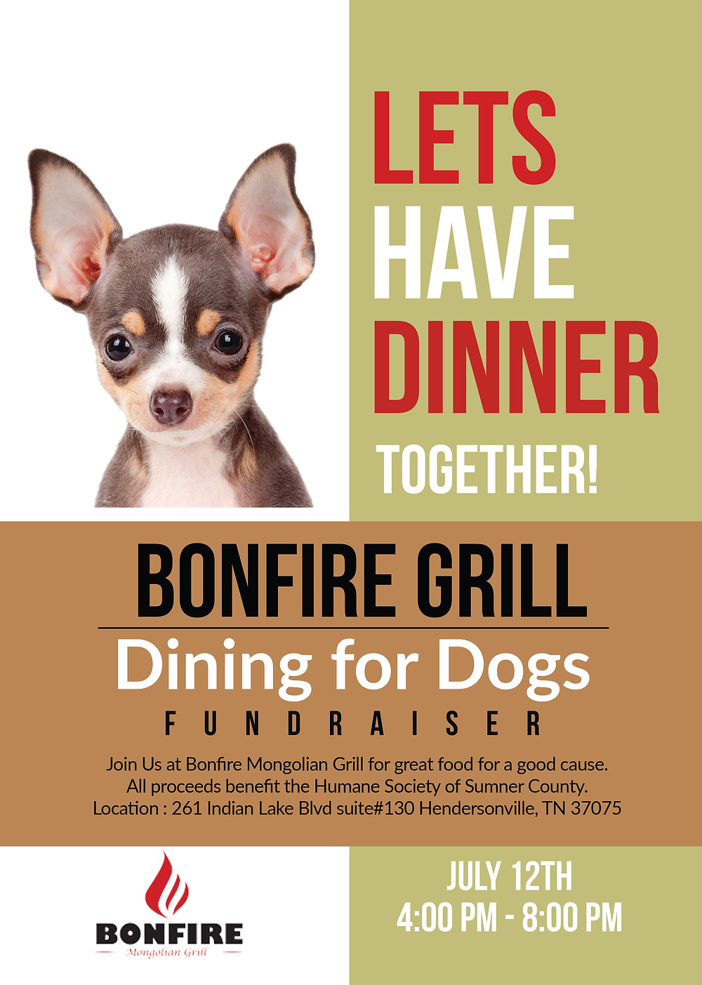 dining for dogs humane society at Bonfire Mongolian Grill in Hendersonville TN