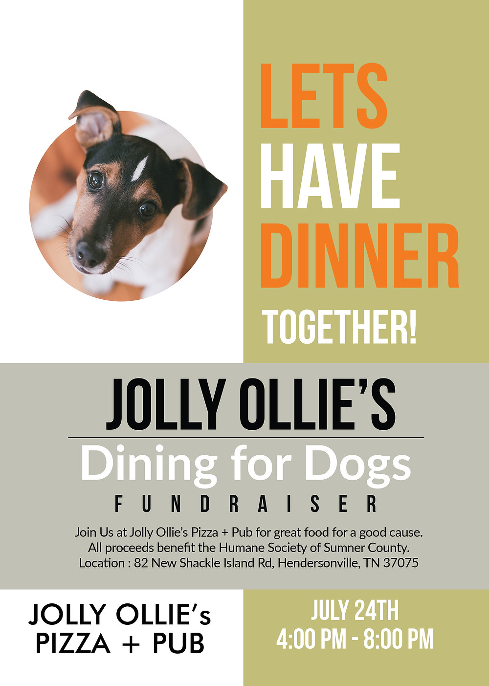dining for dogs at Jolly Ollie's Pizza + Pub in Hendersonville TN