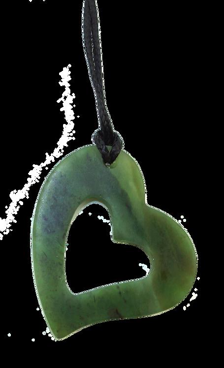 Matte Finished Greenstone (NZ Jade) Silhouette Heart