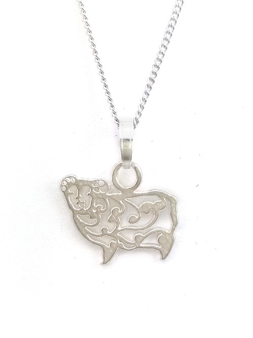 Smiling Sheep Sterling Silver Pendant