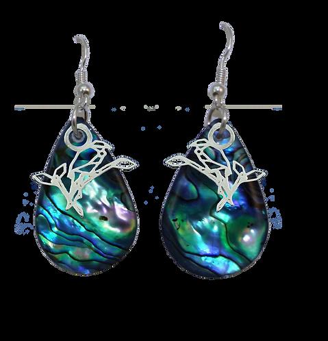Paua Earrings with Tui