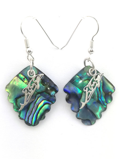 Paua Earrings with Hectors Dolphin