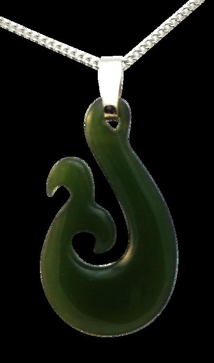 Greenstone Fish Hook with Koru and 9ct Gold Bail
