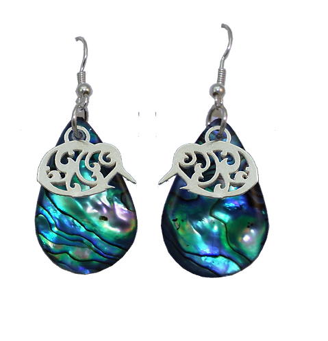 Paua Earrings with Kiwi