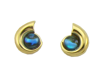 Nautilus Stud Earrings with Cabochon
