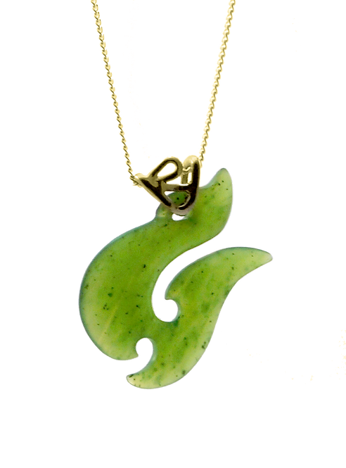 Greenstone Fishhook Pendant with 18ct Gold Bail