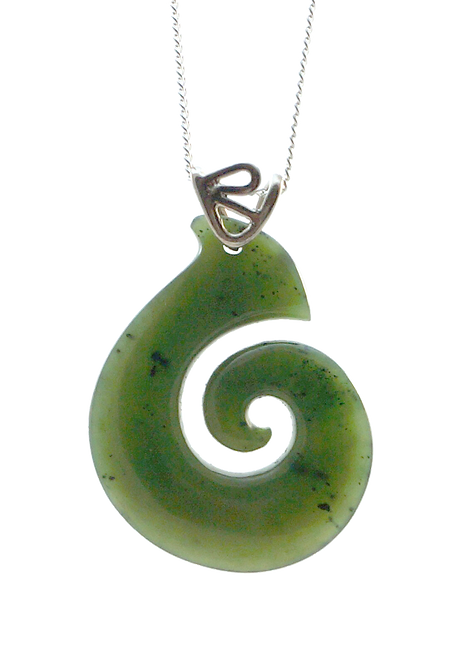 Greenstone Koru Pendant with 18ct Gold Bail