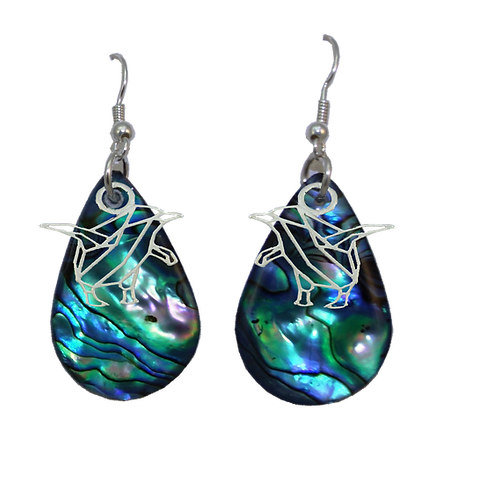 Paua Earrings with Blue Penguin