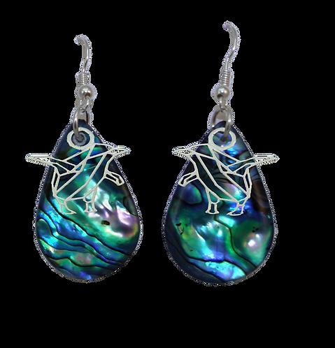 Paua Earrings with Blue Penguin