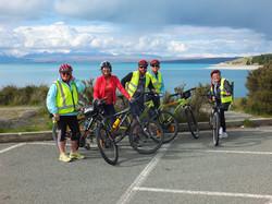 Taking a break at Lake Pukaki  on Alps2 Ocean cycle tour