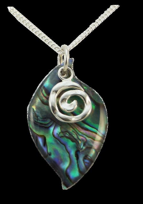 Paua Leaf Pendant with Sterling Silver Koru Overlay