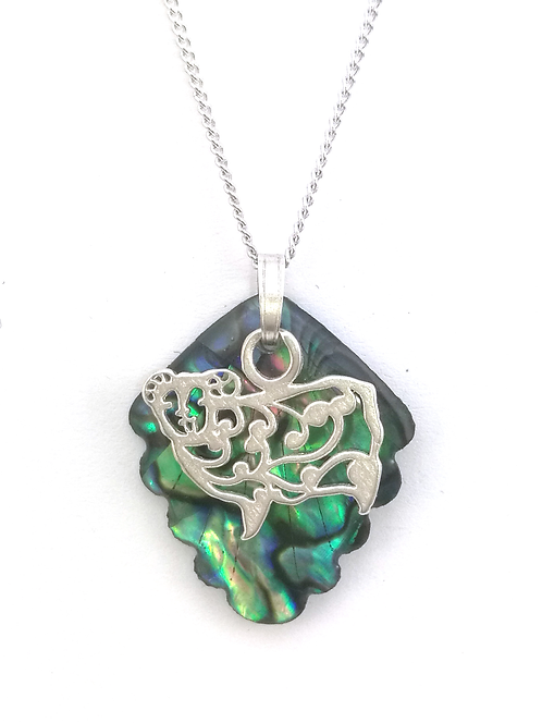 Paua Pendant with Sterling Silver Sheep