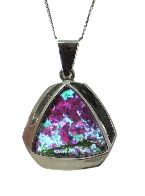 Ruby Rock Triangular Pendant set in Sterling Silver