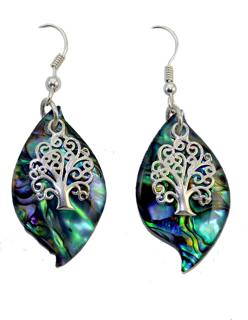 Paua Leaf Earring with Sterling Silver Tree Overlay