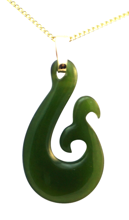Greenstone Fish Hook with Whale Tail and 9ct Gold Bail