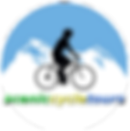 Graphic logo of cyclist with mountains in background