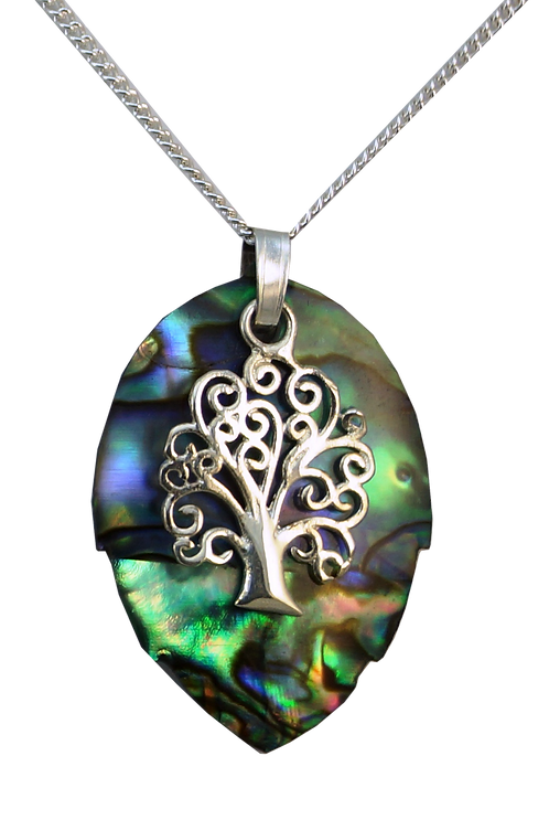 Round Paua Leaf Pendant with Tree of Life Overlay