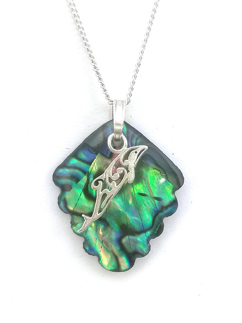 Paua Pendant with Sterling Silver Hectors Dolphin