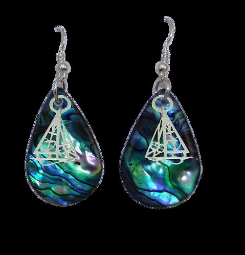 Paua Earrings with Yacht