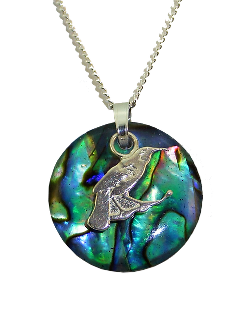 Paua Disc Pendant with Sterling Silver Tui Overlay