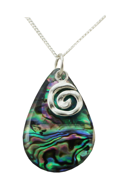 Paua Tear Drop Pendant with Koru Overlay