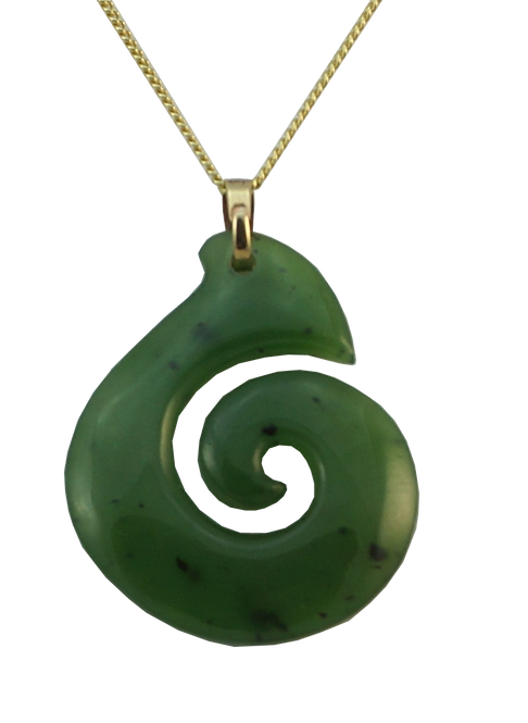 Greenstone Fishhook Pendant with 9ct Gold Bail