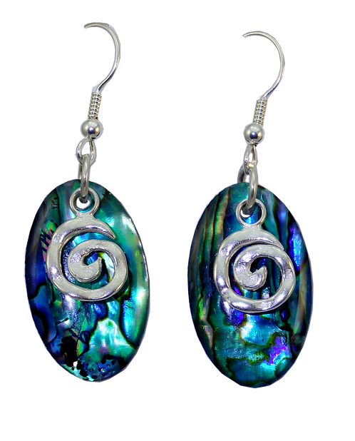 Oval Paua Shell Earring with Sterling Silver Koru Overlay
