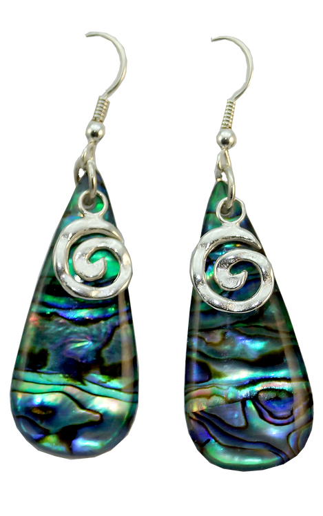Paua Shell Drop Earring with Sterling Silver Koru Overlay
