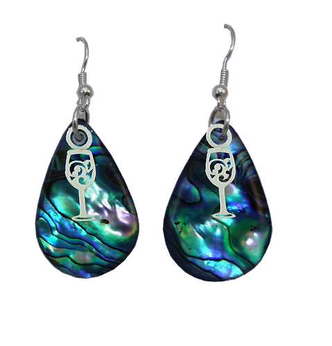 Paua Earrings with Wine Glass