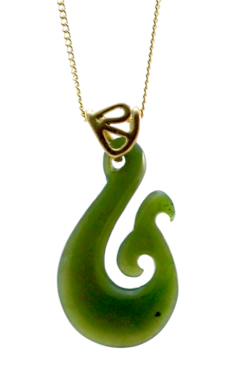 Greenstone Fishhook with Whale Tail Pendant