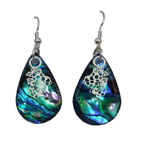Paua Earrings with Grape Bunch