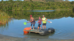 Three women on raft