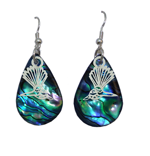 Paua Earrings with Fantail