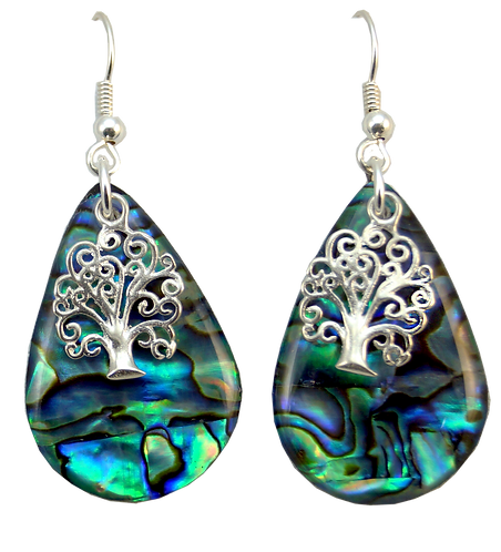 Tear Drop Paua Shell Earring with Sterling Silver Tree of Life Overlay