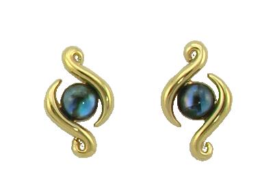 Double Koru Stud Earrings with Cabochon