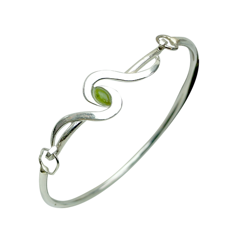 Sterling Silver Open Bangle with Cabochon
