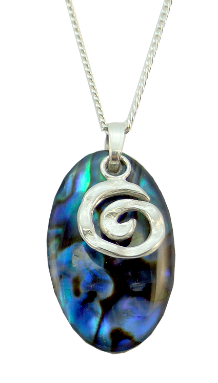 Oval Paua Pendant with Koru Overlay